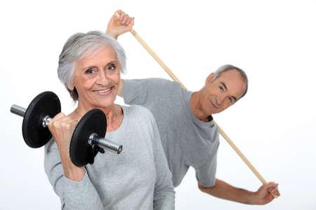 fair hair: Elderly gym enthusiasts Stock Photo