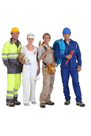 craftsmen: group of workers Stock Photo