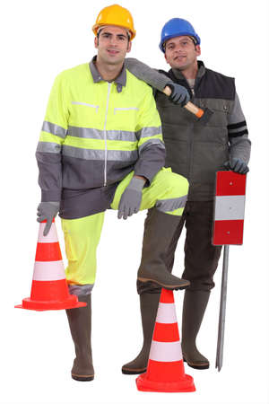 high visibility: A team of traffic guards