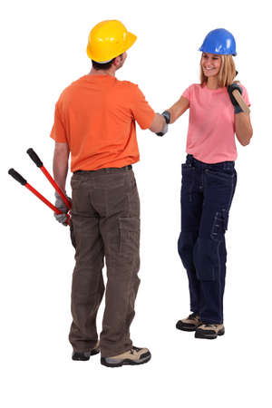 Tradespeople meeting for the first time photo