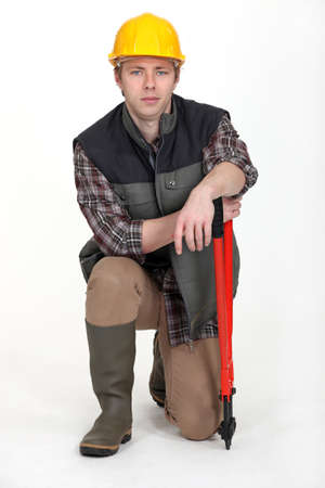 portrait of young craftsman with spanner Stock Photo - 13645668