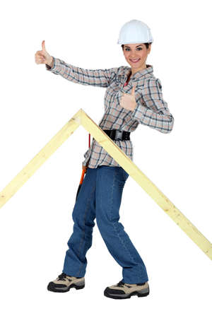 woodworker: Happy female joiner Stock Photo