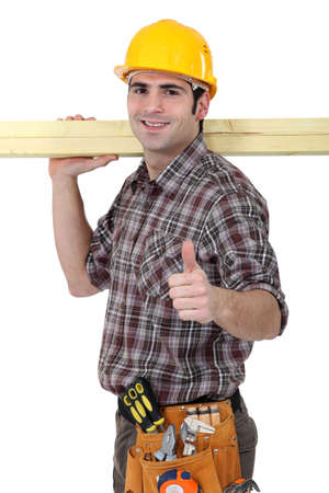 Carpenter giving the go ahead Stock Photo - 13645731