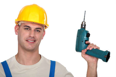 Worker with drill Stock Photo - 13645463