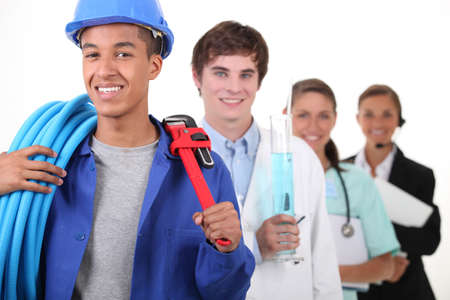 professionals: Four different professions with focus on plumber Stock Photo