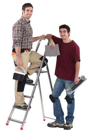 tiler: Tiler and apprentice on white background