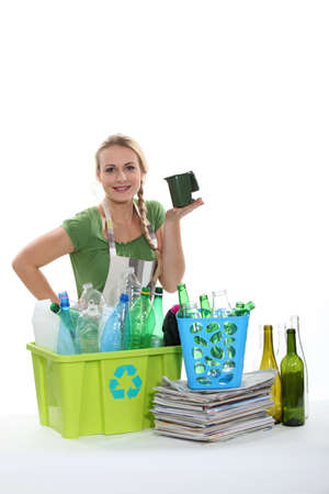 Recycling bottles and paper photo