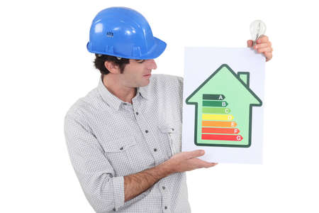 directive: Engineer holding an energy efficiency rating sign