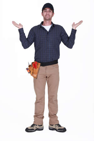 Handyman aseking  why   photo
