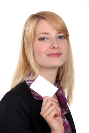 Businesswoman with a blank business card Stock Photo - 13645597
