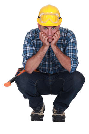 constancy: craftsman thinking Stock Photo