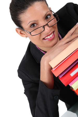 desk tidy: Employee with stack of documents Stock Photo