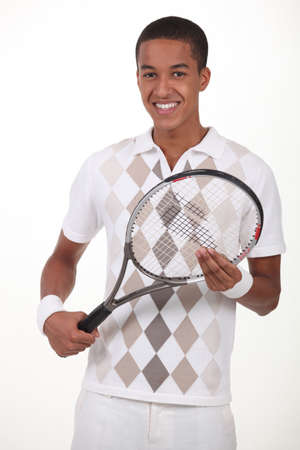 Man stood with tennis racket Stock Photo - 13645787