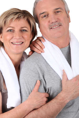 verve: mature couple resting after fitness Stock Photo