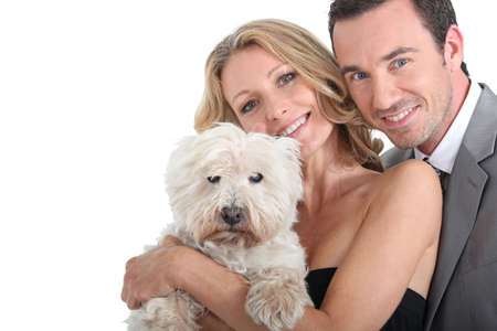 eyes hazel: Couple and their dog  Stock Photo