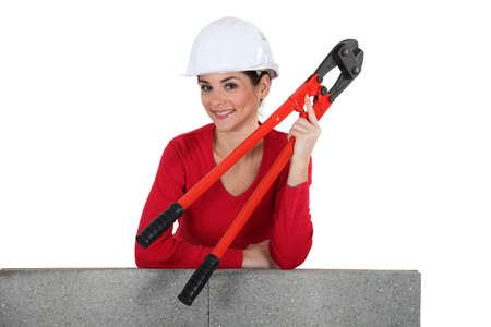 Woman with boltcutters Stock Photo - 13713320