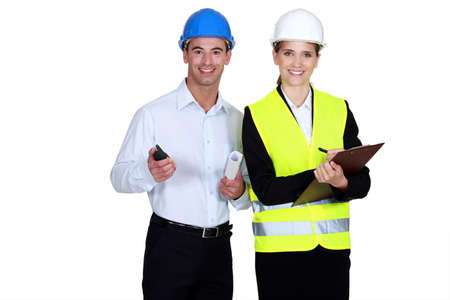 engineering clipboard: Architect and building inspector