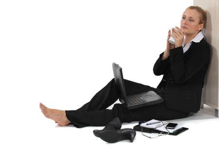 Woman taking a much needed break photo