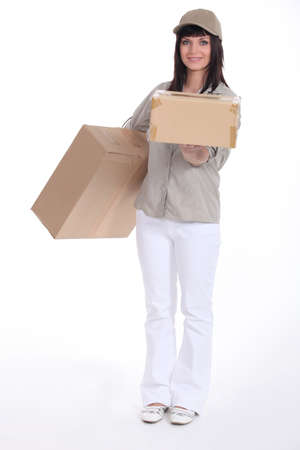 contracted: Young deliverer of packages