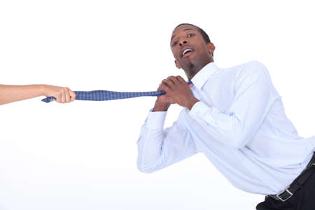 Female hand pulling man Stock Photo - 13713327
