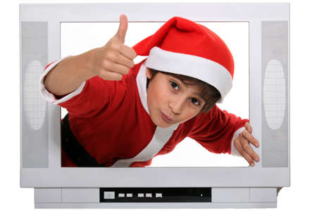 telly: portrait of a kid in Santa Claus costume