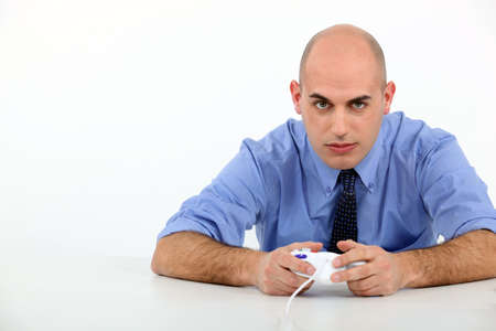 Man playing to video games photo