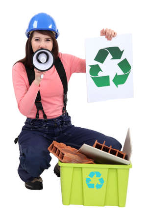 promoting: Woman promoting recycling  Stock Photo