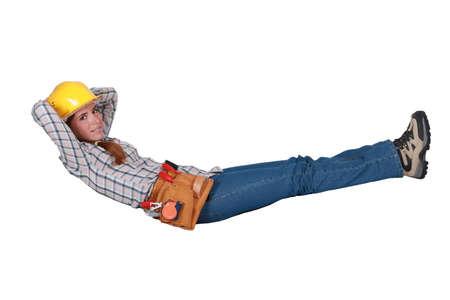 tradeswoman: Tradeswoman floating in the air