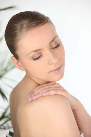 fair skinned: Attractive woman with her eyes closed