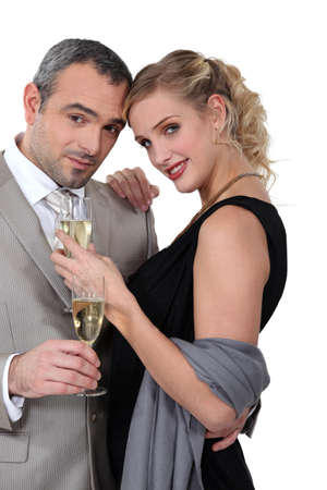 striping: Couple with champagne Stock Photo