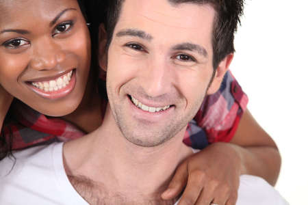 happy interracial couple photo