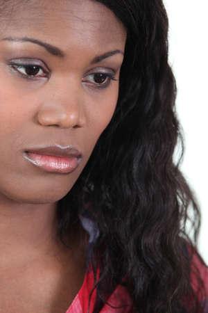 mirada triste: Mujer abatida Foto de archivo