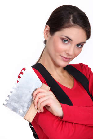 Woman plasterer photo