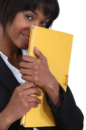 naughty woman: An African American businesswoman with a sensual look  Stock Photo