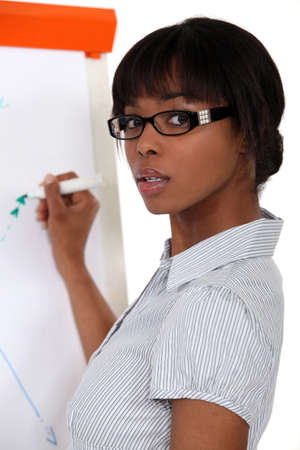 Woman writing on flip-chart photo