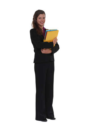 Businesswoman with folders Stock Photo - 13712035