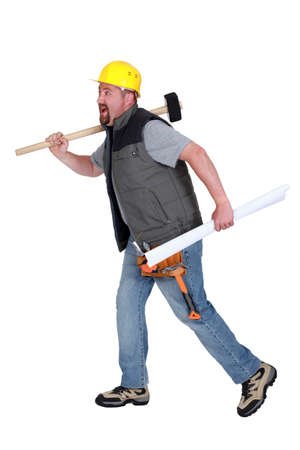 Builder running Stock Photo - 13713719