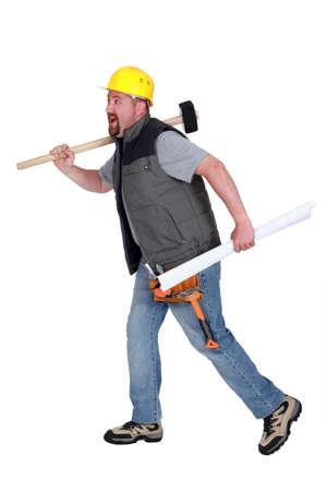 Builder running Stock Photo - 13713719