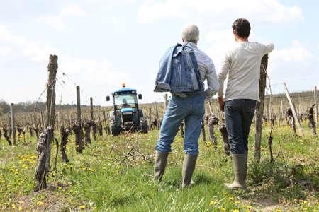 producing: Two men stood in vineyard