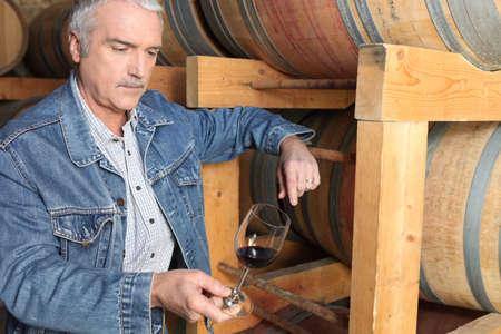 maker: Man in wine cellar Stock Photo