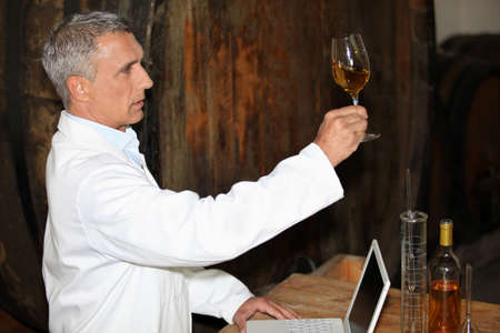 olfactory: Oenologist analysing a wine