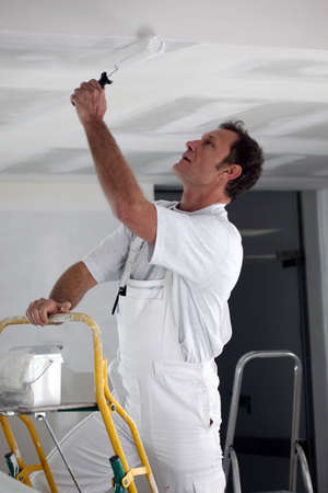 canvass: Painter using roller to coat ceiling