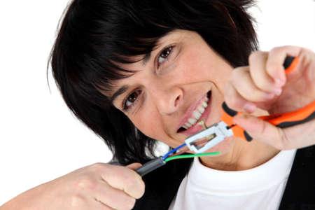 Woman electrician Stock Photo - 13779734