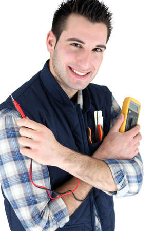 electrician with a measurement tool Stock Photo - 13779765