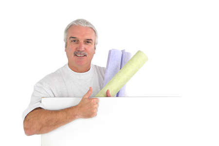paintjob: Grey haired decorator Stock Photo