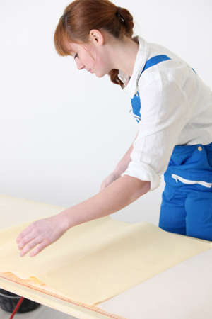Woman preparing new wallpaper photo