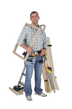 woodworker: Portrait of a carpenter Stock Photo