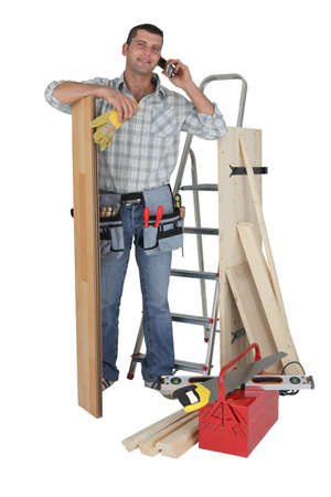 Handyman talking to a supplier photo
