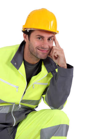 protective workwear: Man in fluorescent overalls