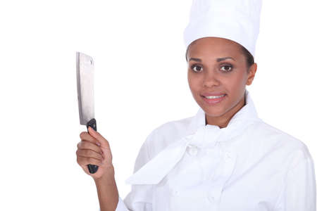 chef holding a kitchen knife Stock Photo - 13778990